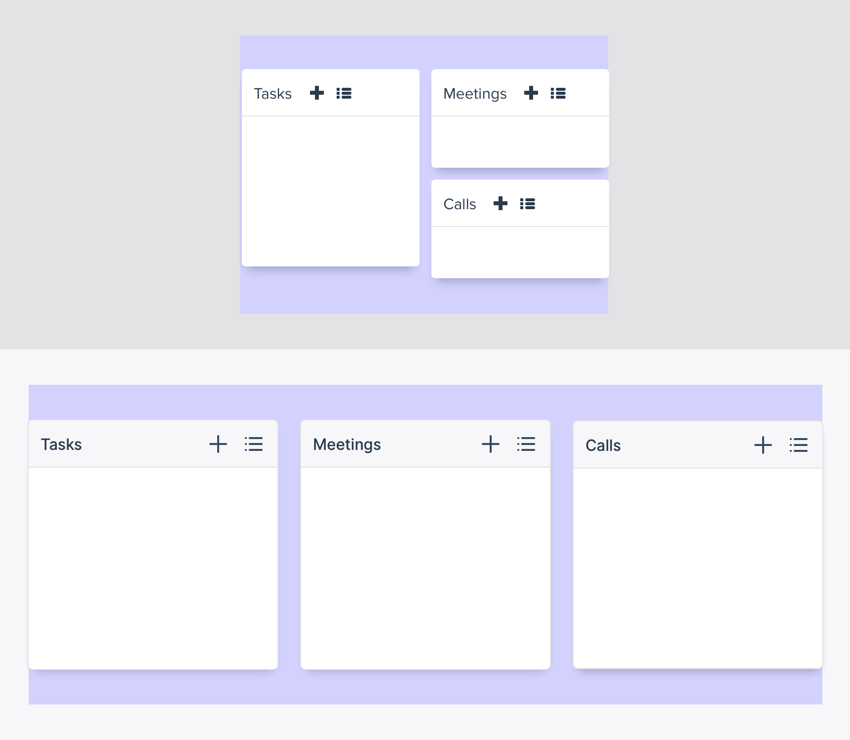 The old versus the new design of the main dashboard widgets