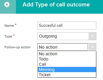 Type of call outcome